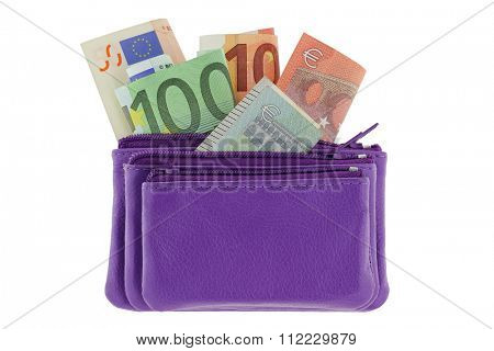 Purple multi layered leather zippered coin pouch with Euro banknote inside, isolated on white background