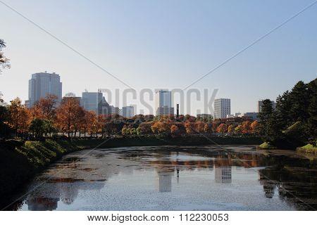 Moat of Edo Castle in Tokyo Japan
