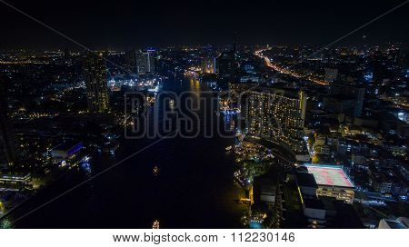 Night Scene Of Chaopraya River In Heart Of Bangkok Thailand