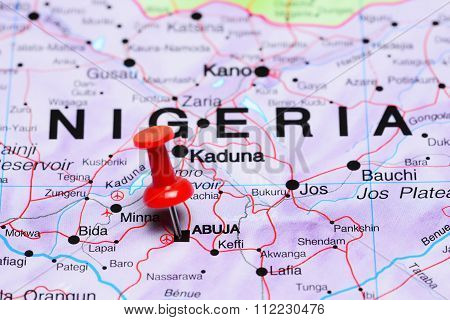 Abuja pinned on a map of Africa