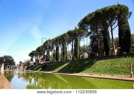 Ancient Ruins Of Villa Adriana ( The Hadrian's Villa ), Canopo, Tivoli, Italy