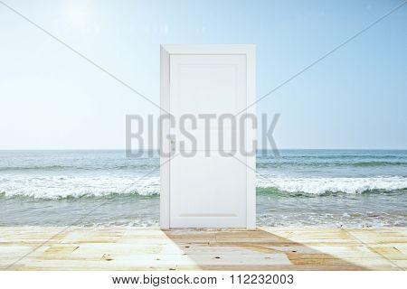 Doorway Spliting Wooden Floor And Ocean