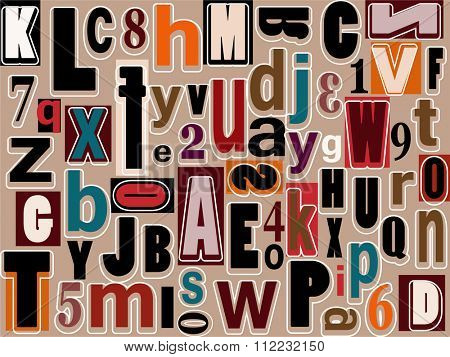 Alphabet and numbers background pattern