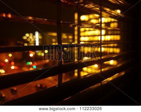 Closeup Of Shutter At Night In Office Building
