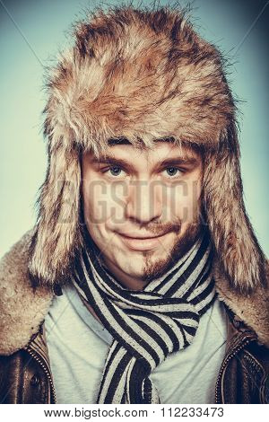 Happy Man With Half Shaved Face Beard In Fur Hat.