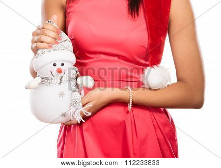 Closeup Of Woman With Little Snowman. Christmas.