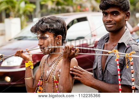 Hindu Devotees Taking Part In The Thaipusam Festival In Madurai, India.