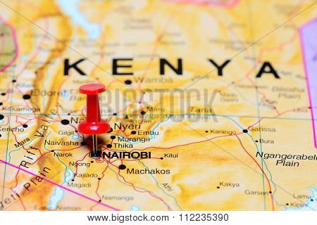 Nairobi pinned on a map of Africa