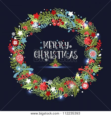 Christmas Wreath. Holiday Vector Background.