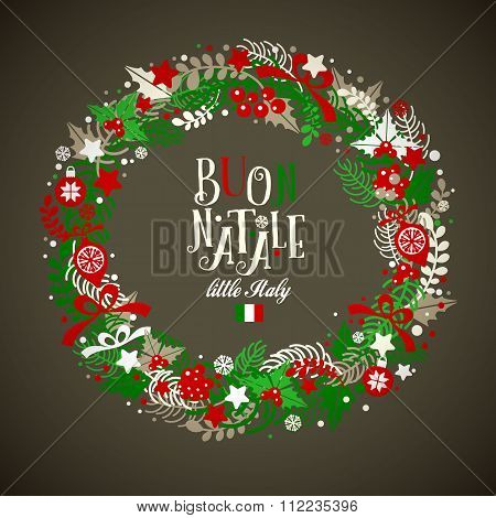 Christmas Wreath. Holiday Vector Background