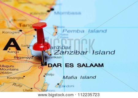 Dar es Salaam pinned on a map of Africa