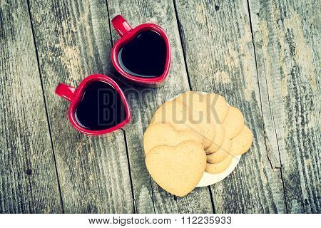 Valentines Day Top View Composition. Coffee Cups and Hearts.