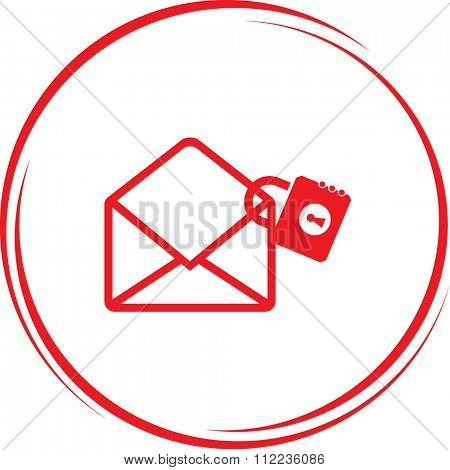 mail with lock. Internet button. Raster icon.