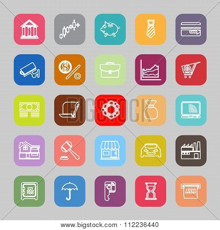 Banking And Financial Line Flat Icons