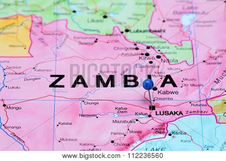 Lusaka pinned on a map of Africa