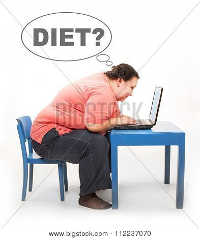 Overweight woman finding new diet online on her laptop. Picture with comic bubble for your text.