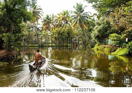 Boats On Kerala Backwaters, India
