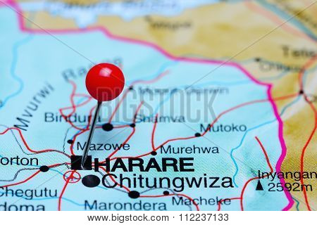 Harare pinned on a map of Africa