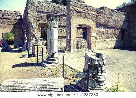 Ancient Ruins Of Villa Adriana ( The Hadrian's Villa ), Pavilion Of Tempe ( Padiglione Di Tempe ) Ti