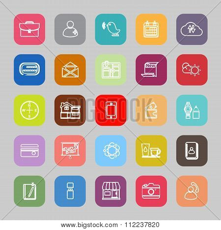 Mobile Line Flat Icons