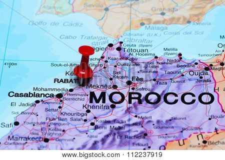Rabat pinned on a map of Africa