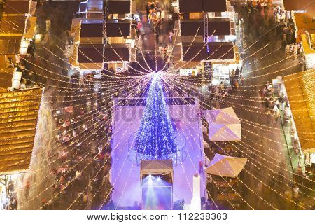 Christmas market in St. Stephen's Basilica Square, Budapest, Hungary Aerial View