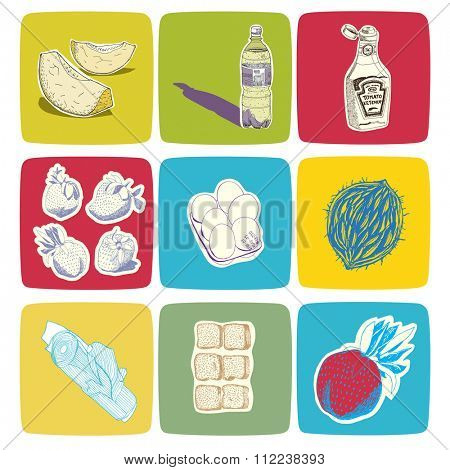 Hand drawn vector food icons, easy to recolor
