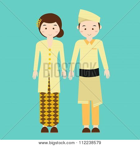 couple wear malaysia malaysian traditional clothes vector drawing