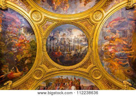 Ceiling painting in Salon de Diane, Palace of Versailles, Paris, France