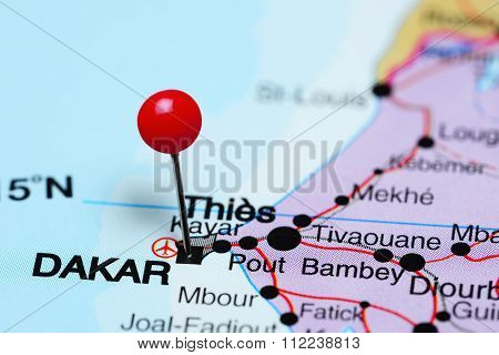 Dakar pinned on a map of Africa
