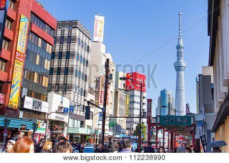 Traveler walking near Tokyo Sky Tree at Asakusa
