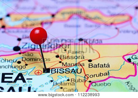 Bissau pinned on a map of Africa