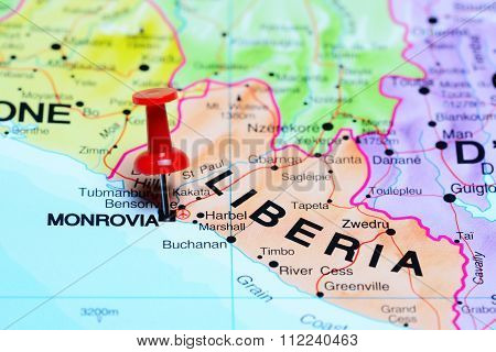 Monrovia pinned on a map of Africa