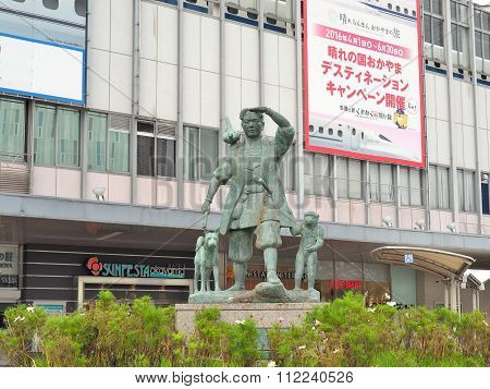 The statue of Momotaro and his friends in front of Okayama railway station.