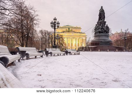 Monument To Catherine Ii And Alexandrinsky Theatre (russian State Pushkin Academy Drama Theater), St