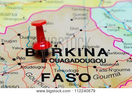 Ouagadougou pinned on a map of Africa