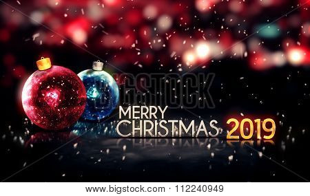 Merry Christmas 2019 Night Bokeh Beautiful 3D Background