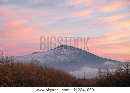 Etna Volcano and Nelson Obelisk in Nebrodi Park at dusk, Sicily