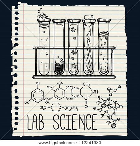 Hand drawn science  lab icons sketch set .