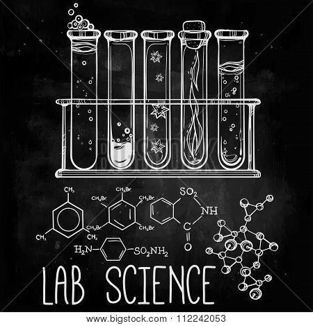 Hand drawn science  lab icons sketch set .