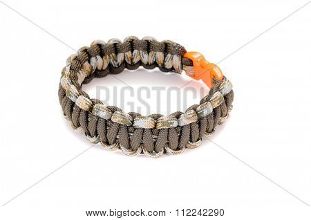 Camouflage Cobra weave Parachute cord bracelet on a white background