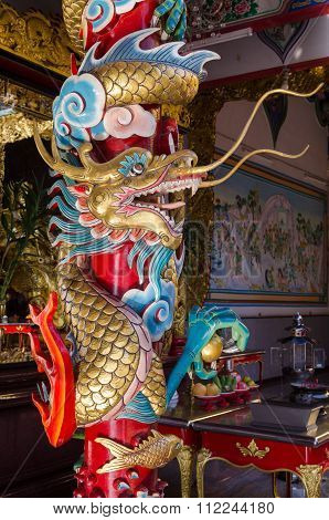 China Dragon, Chinese Temple In Thailand.