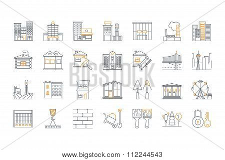 Set of line building icons. Stock vector.