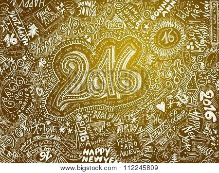 HAPPY NEW YEAR 2016 - GOLD hand drawn background