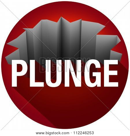 Plunge word over a crack or hole with long shadow, warning of a risk of falling or danger