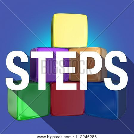 Steps word with long shadow over a pyramid of cubes or blocks to illustrate rising to higher or next level