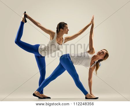 yoga in pair. women. Duo. Balance