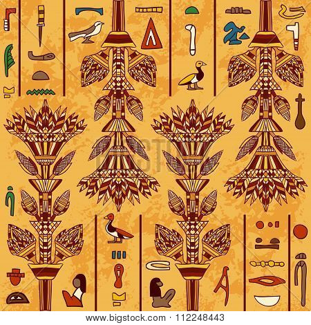 Egypt colorful ornament with ancient Egyptian hieroglyphs on aged paper background,. Vector seamless