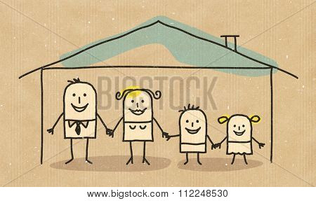 Hand drawn cartoon characters on textured background - family in a house