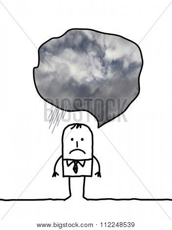 depressed cartoon man thinking about cloudy weather